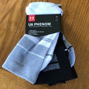 Under Armour Phenom 3 pack crew socks size 4-8 M